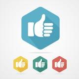 Vector Cursor thumb up like good social. Rainbow stock illustration