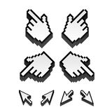 Vector cursors. Set of monochrome vector pixel cursors Royalty Free Stock Images
