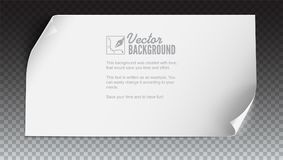 Vector curved paper banner on colored background. White blank paper curved horizontal banner,  on trasparent Royalty Free Stock Image
