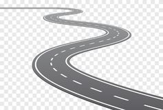 Vector Curved road with white lines. Vector Curved road with white middle line in perspective view vector illustration