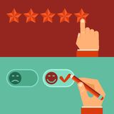 Vector customer review concepts in flat style. Male hand choosing positive review Stock Image