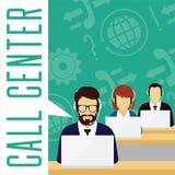 Vector customer service concept. Call center. Call center concept. Male and female avatars with a headset on symbol background Royalty Free Stock Photos