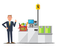 Vector customer using self checkout. Vector male customer in a business suit using self checkout register. Red shopping basket full of grocery. Grey metal self Stock Photos