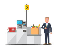 Vector customer using self checkout Stock Photography