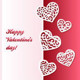 Vector cut out paper lacy hearts valentines card Royalty Free Stock Image
