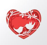 Paper red heart and two birds Royalty Free Stock Images