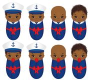 Vector Cute African American Babies Dressed in Nautical Style. Vector cute African American babies dressed in various nautical style. Vector baby girl. Vector Royalty Free Stock Photos