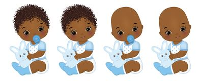 Vector Cute African American Baby Boys with Bunnies. Vector Baby Boy Shower