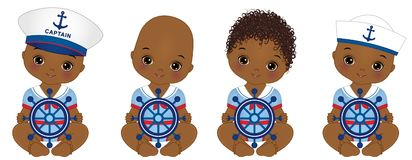 Vector Cute African American Baby Boys Dressed in Nautical Style. Vector baby boy shower. Vector baby boy with steering wheel. African American baby boys stock illustration