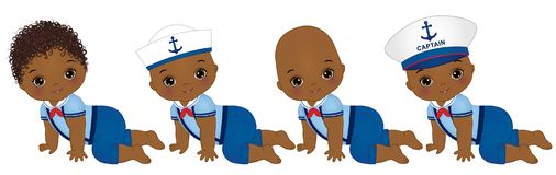 Vector Cute African American Baby Boys Dressed in Nautical style Royalty Free Stock Photography