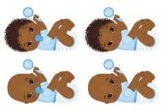 Vector Cute African American Baby Boys with Rattles. Vector Baby Boy Shower vector illustration