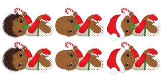 Vector Cute African American Baby Boys Wearing Christmas Clothes Stock Image