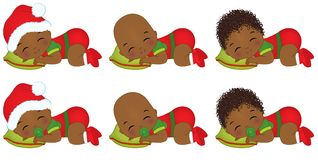 Vector Cute African American Baby Boys Wearing Christmas Clothes. Vector cute little African American baby boys wearing Christmas clothes. Vector baby boy Royalty Free Stock Images