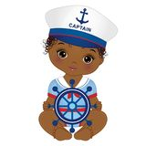 Vector Cute African American Baby Girl Dressed in Nautical Style. Vector cute little African American baby girl dressed in nautical style. Vector baby girl with stock illustration