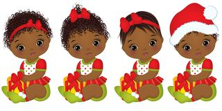 Vector Cute African American Baby Girl Wearing Christmas Clothes Stock Photo