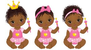 Vector Cute African American Baby Girls Dressed as Princesses. Vector cute little African American baby girl dressed as princesses. Vector baby girl. Vector Royalty Free Stock Photography
