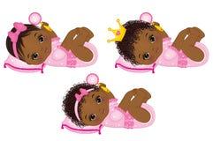 Vector Cute African American Baby Girls Dressed as Princesses. Vector cute little African American baby girls dressed as princesses. Vector little princess Stock Photos