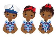 Vector Cute African American Baby Girls Dressed in Nautical Style Royalty Free Stock Photography