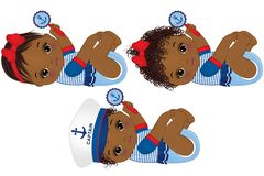Vector Cute African American Baby Girls Dressed in Nautical Style. Vector cute little African American baby girls dressed in nautical style. Vector baby girls Royalty Free Stock Image