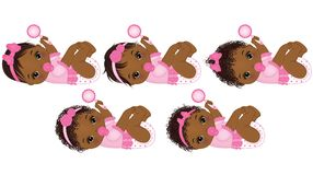 Vector Cute African American Baby Girls with Various Hairstyles. Vector cute African American baby girls with rattle. Vector African American baby girls with Stock Photos