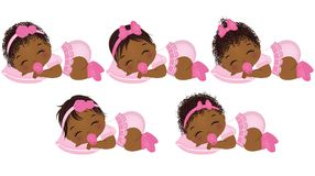 Vector Cute African American Baby Girls with Various Hairstyles royalty free illustration