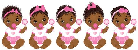 Vector Cute African American Baby Girls with Various Hairstyles. Vector cute African American baby girls with rattles sitting. Vector African American baby girls Stock Images