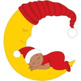 Vector Cute African American Baby in Christmas Clothes Sleeping. Vector cute African American baby wearing Christmas clothes sleeping on the Moon. Vector baby Stock Photos