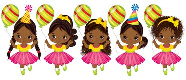 Vector Cute African American Little Girls with Balloons. Vector cute little African American girls with balloons. Vector little girls with various hairstyles Stock Images