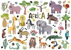Vector cute african animals royalty free illustration