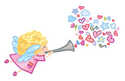 Vector cute angel cartoon. Royalty Free Stock Photos