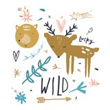 Vector cute animals. Kids collecrion with deer and fox stock illustration