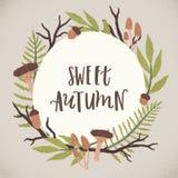 Vector cute autumn illustration and lettering. stock illustration