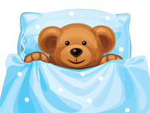 Vector of cute baby bear in bed. Background is my creative handdrawing and you can use it for animals, kids design and etc,   made in vector, Adobe Illustrator Stock Image
