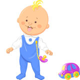 Vector Cute Baby Boy Learns To Walk Royalty Free Stock Images