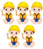 Vector Cute Baby Boys Dressed as Little Builders with Hammers Royalty Free Stock Photo