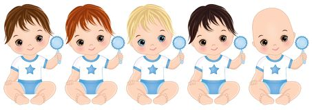 Vector Cute Baby Boys with Rattles. Vector Baby Boy Shower royalty free illustration