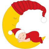 Vector Cute Baby in Christmas Clothes Sleeping on the Moon. Vector cute baby wearing Christmas clothes sleeping on the Moon. Vector baby boy. Vector baby girl Stock Image