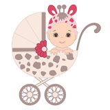 Vector Cute Baby Girl in Giraffe Costume  Sitting in the Stroller. Royalty Free Stock Photos
