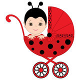 Vector Cute Baby Girl in Ladybug Costume Sitting in Stroller. Royalty Free Stock Photos