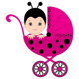 Vector Cute Baby Girl in Ladybug Costume Sitting in the Stroller. Royalty Free Stock Photography