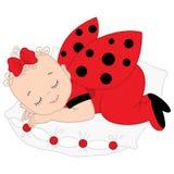 Vector Cute Baby Girl in Ladybug Costume Sleeping. Stock Images