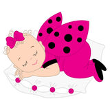 Vector Cute Baby Girl in Ladybug Costume Sleeping on the Pillow. Royalty Free Stock Photo