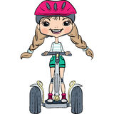 Vector cute baby girl riding a Segway. Cute hipster baby girl in a helmet and knee pads rides on Segway Stock Photos