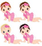 Vector Cute Baby Girls with Various Hair Colors Crawling Royalty Free Stock Photo