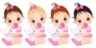 Vector Cute Baby Girls with Various Hair Colors royalty free illustration