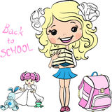 Vector cute baby school girl Stock Photo