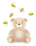 Vector cute  bear and bees isolated. Royalty Free Stock Photography