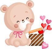 A Vector of Cute Bear Holding Gift Box Full of Heart Balloons stock photography