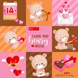 A Vector of Bears Card for Celebrating Valentine's Day in Square Composition with saying I Love You Beary Much royalty free stock photos