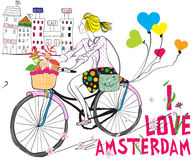 Vector cute beautiful fashionable baby girl rides a bike in Amst Stock Photos